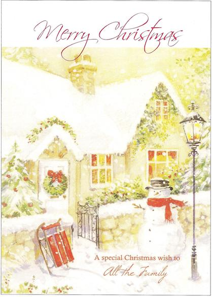 "Snowy cottage ""Merry Christmas. A Special Christmas Wish to All the Family"""