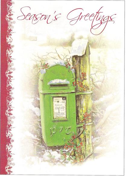 Snowy old green postbox