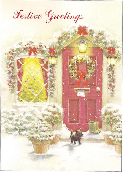 "Decorated front door - ""Festive Greetings"""