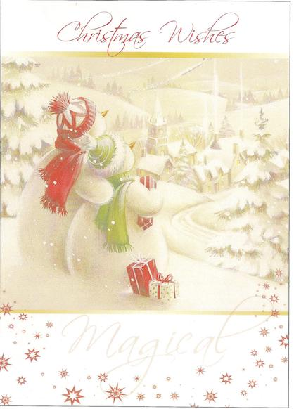 "Cute Snowman couple looking over snowy village - ""Christmas Wishes"""