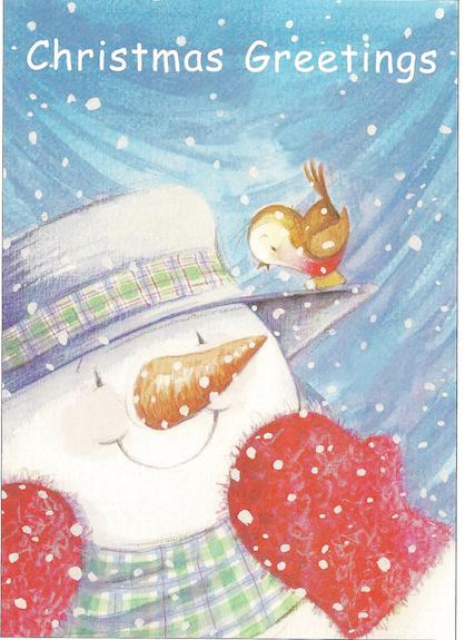 "Cute Snowman with robin on his hat - ""Christmas Greetings"""